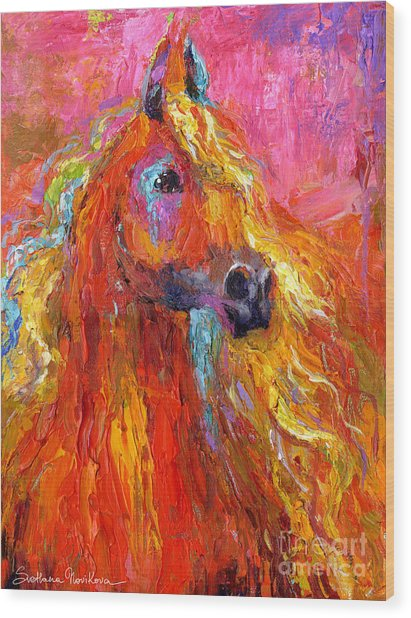 Red Arabian Horse Impressionistic Painting Wood Print