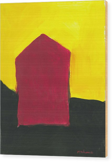 Red Arthouse Wood Print