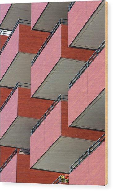 Red Balconies Wood Print by Jannis Werner