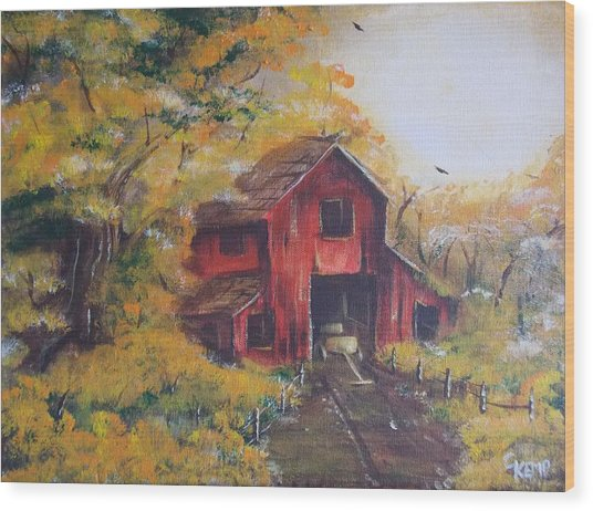 Red Barn 2 Wood Print