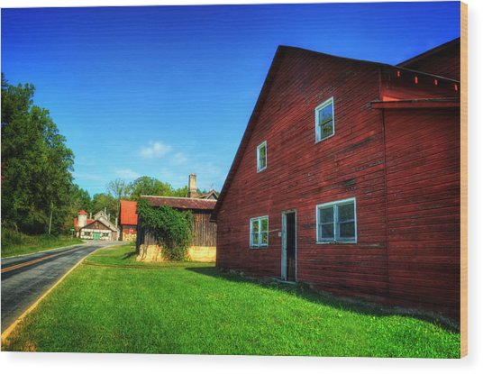 Red Barn And Blacksmith Shop Wood Print