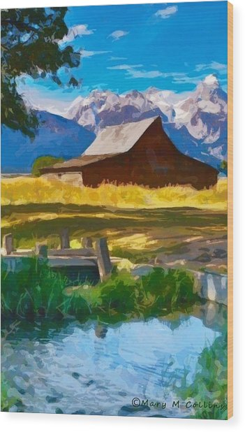 Red Barn And Mountains  Wood Print