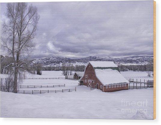 Red Barn At Lamb Ranch Wood Print