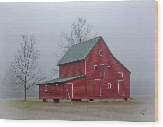 Red Barn At Ware Neck Wood Print by Williams-Cairns Photography LLC