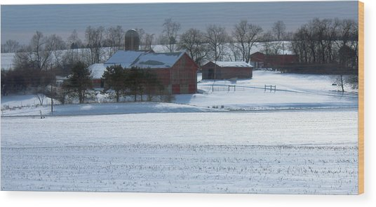 Red Barn In Snow Cover Wood Print