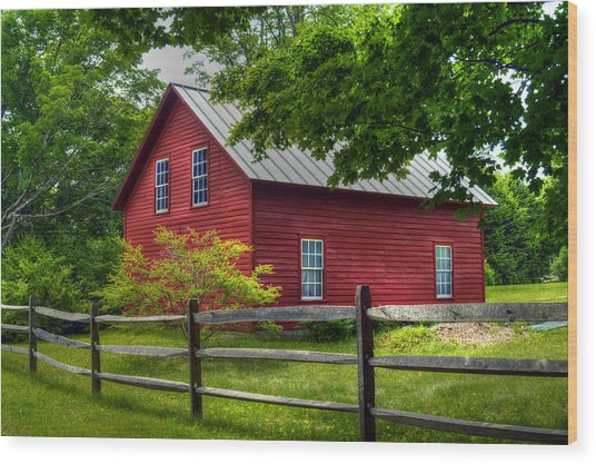 Red Barn In Tyringham - Berkshire County Wood Print