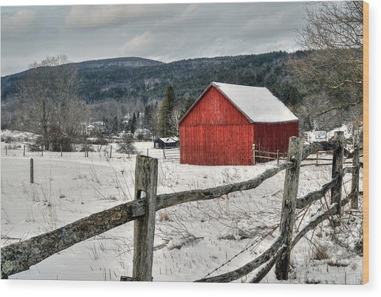 Red Barn In Winter - Tyringham Cobble Wood Print