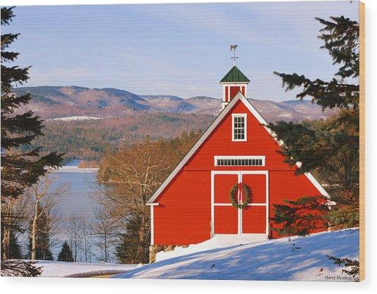 Red Barn On Newfound Lake Wood Print