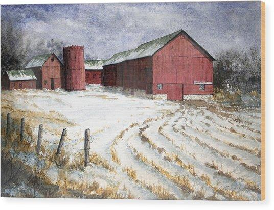 Red Barn On Rt. 49 Wood Print