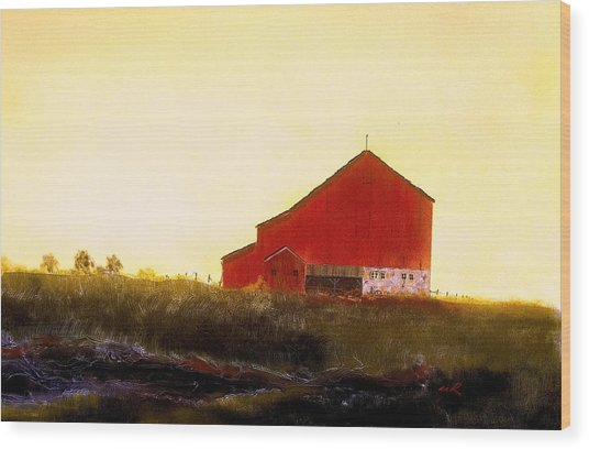 Red Barn On The Rocks Wood Print