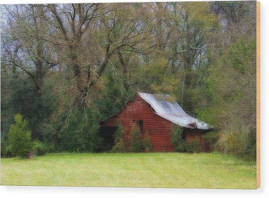 Red Barn Wood Print