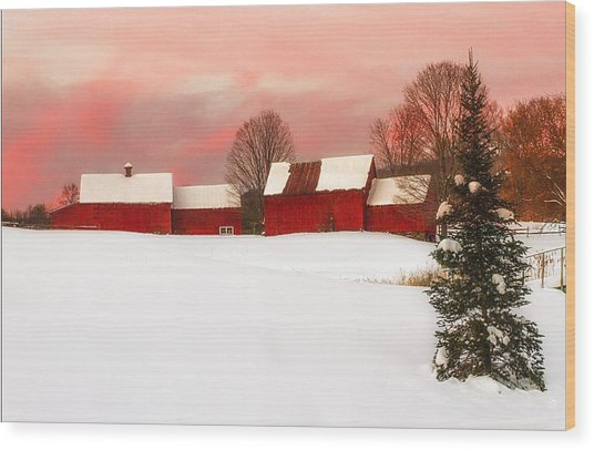 Red Barn Sunset Wood Print