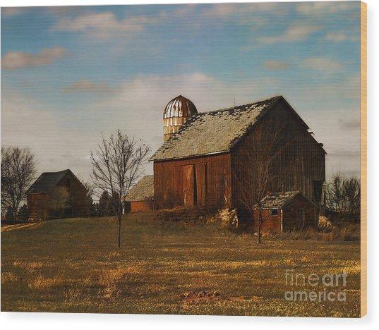 Red Barn - Waupaca County Wisconsin Wood Print