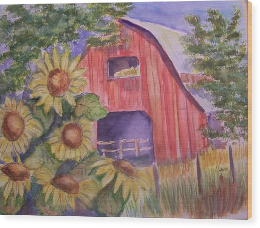 Red Barn With Sunflowers Wood Print