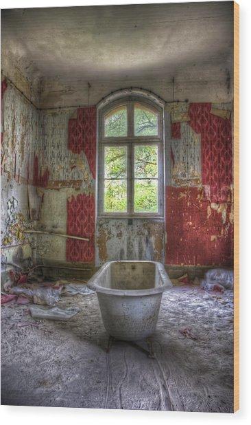 Red Bathroom Wood Print