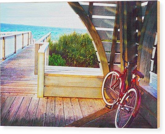 Red Bike On Beach Boardwalk Wood Print