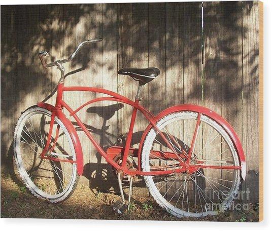 Red Bike Wood Print by Susan Williams