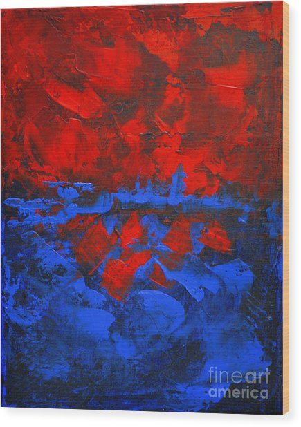 Red Blue Abstract Make It Happen By Chakramoon Wood Print by Belinda Capol