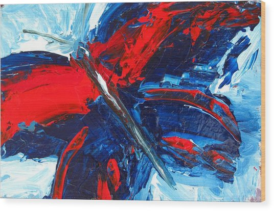 Red Blue Butterfly Wood Print