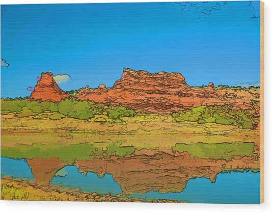 Red Bluff Reflection Wood Print