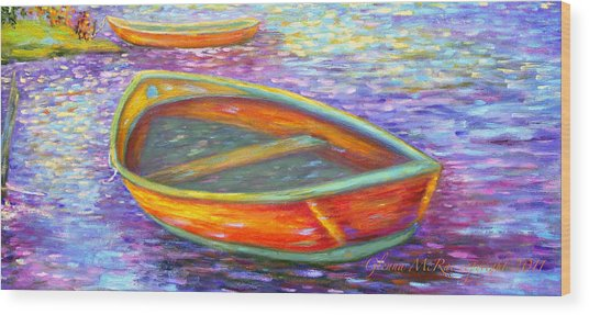 Red Boats On Autumn's Shore Wood Print