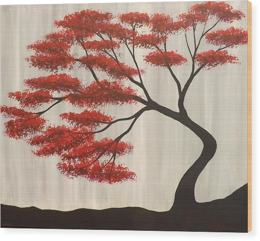 Red Bonsai Wood Print