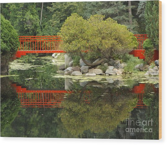 Red Bridge Close Reflection Wood Print
