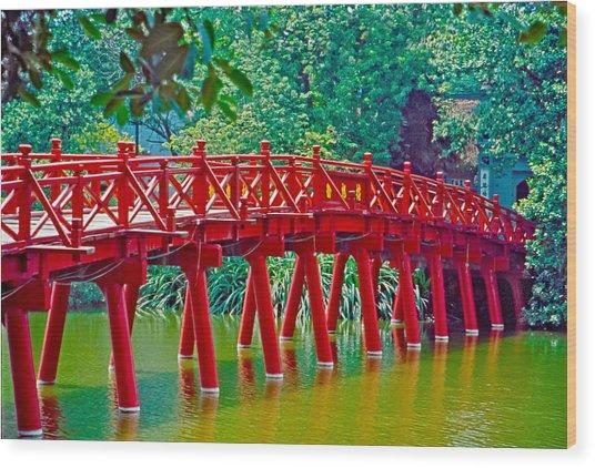 Red Bridge In Hanoi Vietnam Wood Print