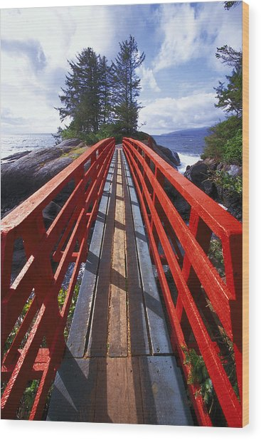 Red Bridge To Nowhere Wood Print by Kim Lessel