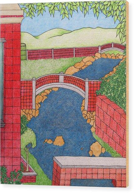 Red Bridges Wood Print