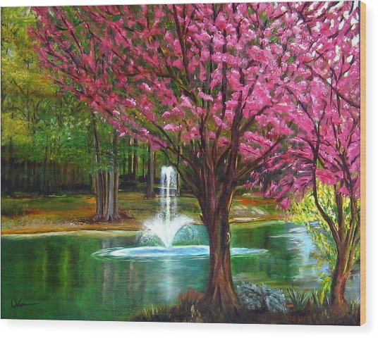 Red Bud Tree Wood Print