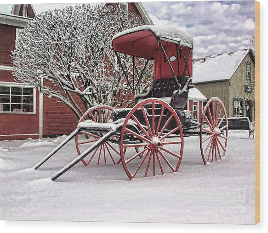 Red Buggy At Olmsted Falls - 1 Wood Print