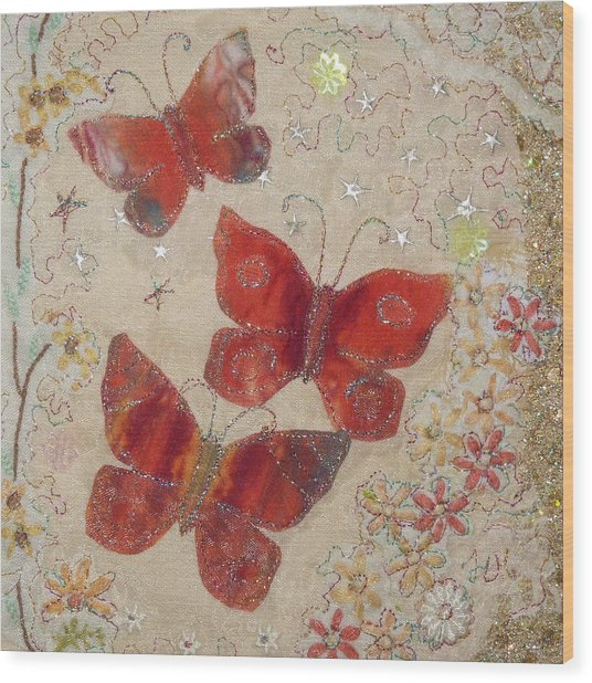 Red Butterflies Wood Print