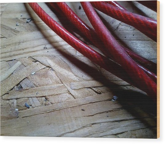 Red Cable Wood Print by Jaime Neo