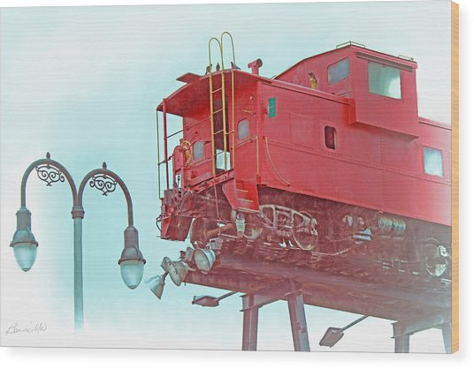 Red Caboose In The Sky2 Wood Print
