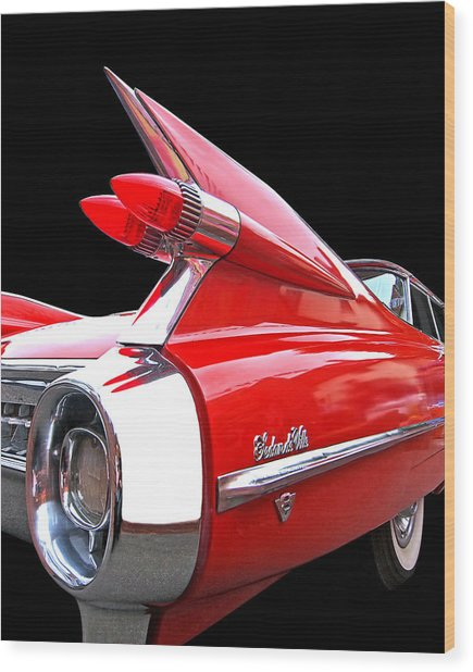 Red Cadillac Sedan De Ville 1959 Tail Fins Wood Print