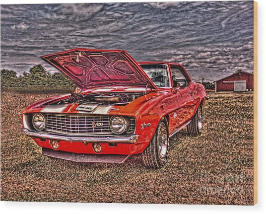 Red Camaro Wood Print