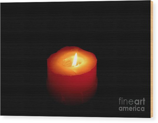 Red Candle Wood Print by William Voon