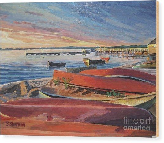 Red Canoe Sunset Wood Print