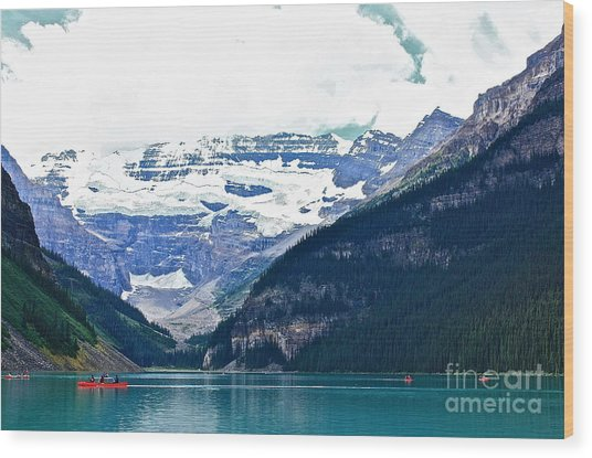 Red Canoes Turquoise Water Wood Print