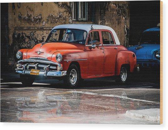 Red Car On Wet Street Wood Print