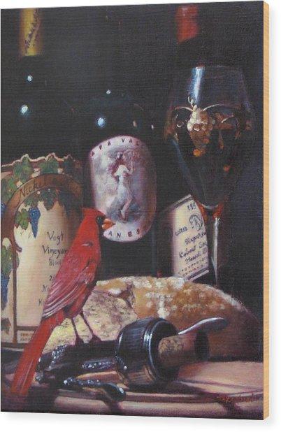 Red Cardinal Red Wine Sin Wood Print by Takayuki Harada