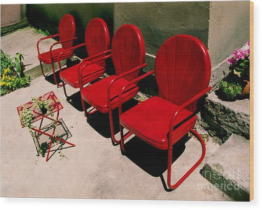Red Chairs Wood Print