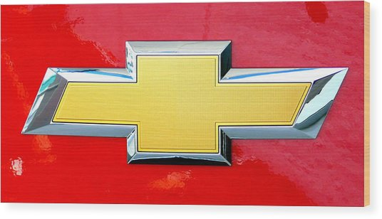 Red Chevy Bowtie Wood Print