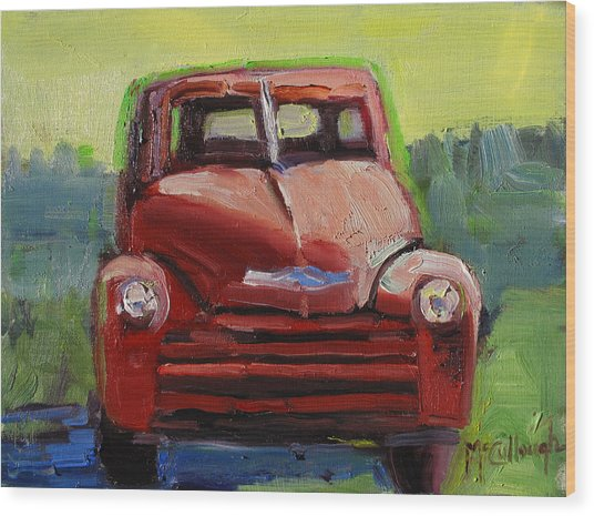 Red Chevy Wood Print by Susan McCullough