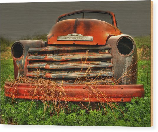 Red Chevy Wood Print
