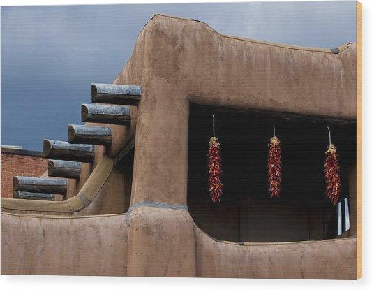Red Chile Ristras Santa Fe Wood Print