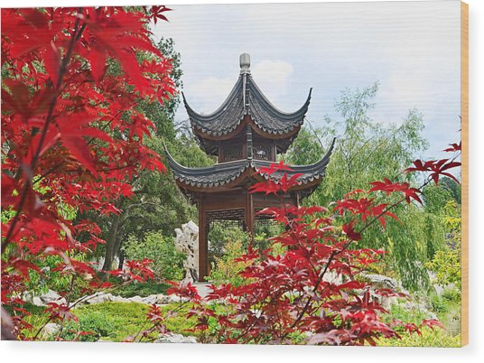 Red - Chinese Garden With Pagoda And Lake. Wood Print