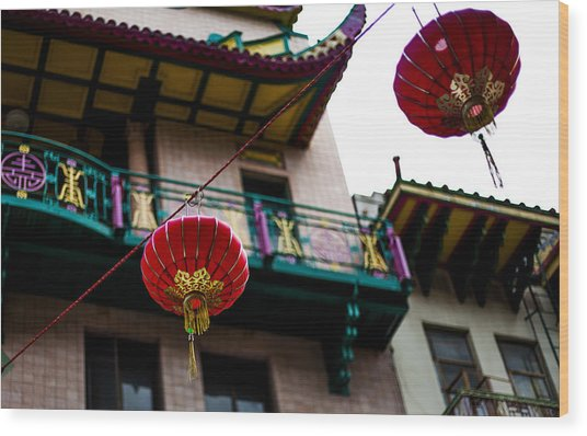 Red Chinese Lanterns Wood Print by SFPhotoStore