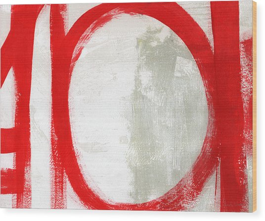 Red Circle 3- Abstract Painting Wood Print